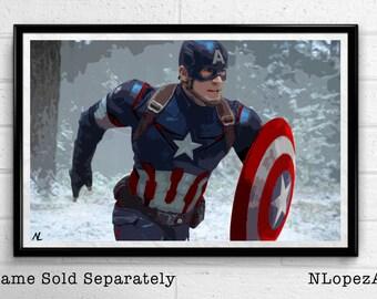 Captain America Marvel Avengers Winter Soldier Illustration, Film, Movie, Pop Art, Superhero Poster, Comic Book Print Canvas