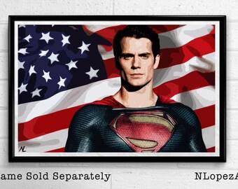 Superman - Man of Steel - Clark Kent Illustration, Film, Movie, Pop Art, Superhero Poster, Comic Book Print Canvas