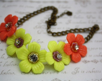 crystal flower beads necklace orange yellow vintage bronze statement chain jewellery accessory choker style