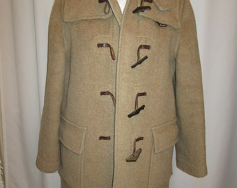 vintage, England made GLOVERALL caped stadium toggle hooded camel wool coat womens size 12