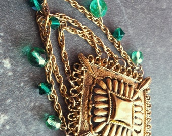 Vintage Gold Emerald Crystal Necklace, Eco Friendly Necklace, Vintage Inspired, Long Green Necklace, Up Cycled, Long Pendant Necklace, Vegan