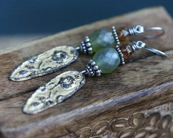 Rustic Boho * Floral Arabesques * Earth Gardens Series* earrings n52 - Primitive Metal Cast Focal . Golden Patina . Garden . Artisan Charm