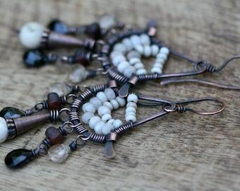 Rustic Bohemian Chandellier * Ebony and Ivory* earrings  n13 - White Agate . Long Honey . 70's inspired * Black Spinel . Rutilated Quartz