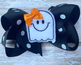 Halloween bow - ghost bow, halloween hair bow, ghost hair bow
