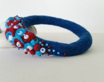 Felted Bracelet, Blue, White, Red, Fiber Bangle, Felt Wool Jewelry