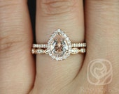 Tabitha 8x6mm & Christie Band 14kt Rose Gold Pear Morganite and Diamonds Halo Wedding Set (Other metals and stone options available)