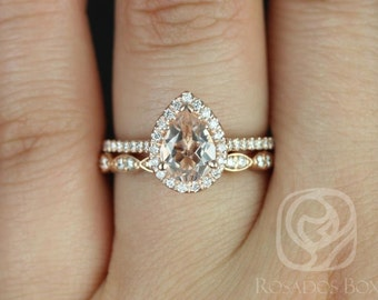 Rosados Box Tabitha 8x6mm & Christie Band 14kt Rose Gold Pear Morganite and Diamonds Halo Wedding Set