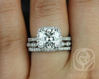Rosados Box Brandi 9mm & Christie 14kt White Gold F1- Moissanite and Diamonds Halo TRIO Wedding Set (Other options available)