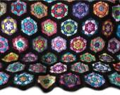 Crochet afghan crochet blanket handmade blanket kaleidoscope hexagons, variation 1, black border  MADE TO ORDER