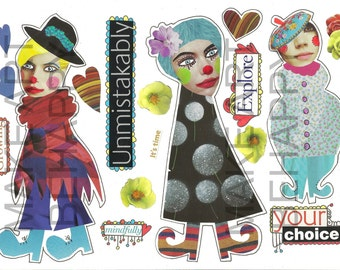 Collage sheet, journal sheet, quirky characters, mixed media dolls nr D03
