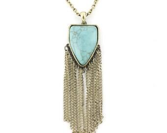 Gold Tone Natural Turquoise Stone Pendant Fringe Necklace