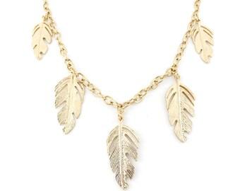 Bright Gold Tone Leaf Pendant Statement Necklace,C13