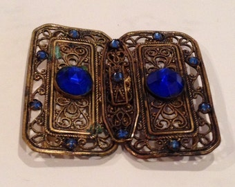 Vintage 1920s Filigree and Glass Brass Buckle