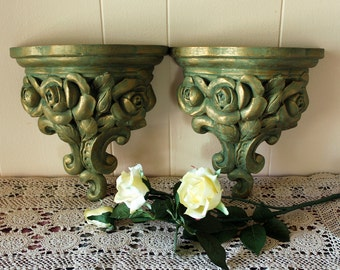 Pair of Vintage Décor Wall Shelves, Carved Roses Teal and Gold - Wall Shelf - Accent Shelf - Roses Wall Décor - Hollywood Regency