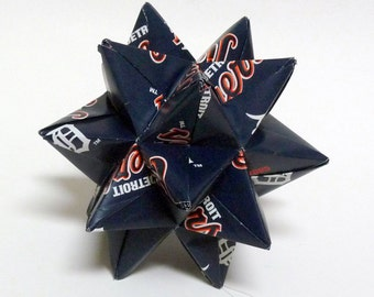 Medium Origami Star Made From Licensed Detroit Tigers MLB Paper, Detroit Baseball Ornament, Tigers Decoration