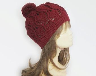 Hats,Hand crochet hat, burgundy crochet Beanie, Cozy Hat, crochet Fashion ,Crochet Cap,Valentine's Day,winter hat,womens hats,burgundy hat