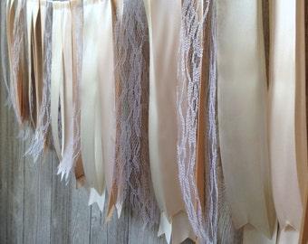 Neutral Ribbon Garland, Wedding Garland, Birthday Garland, Custom Garland, Rustic Wedding, Lace Garland, Fabric Garland, Table Garland