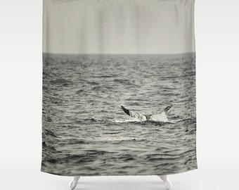 Shower Curtain Photography Shower Curtain Whale Tale Humpback Whale Art  Monochromatic Ocean Custom Bath Decor Xtra Long Shower Curtain