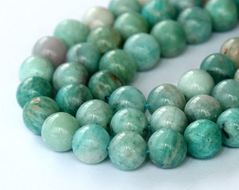 Russian Amazonite Beads, Dark, 8mm Smooth Round - 15 inch strand - eGR-AZ004-8