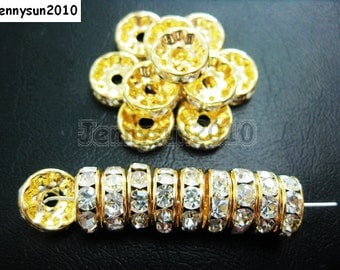 100pcs Top Quality Clear Czech Crystal Rhinestones Gold Rondelle Spacer Beads 4mm 5mm 6mm 8mm 10mm