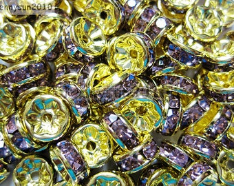 100pcs Top Quality Light Amethyst Czech Crystal Rhinestones Gold Rondelle Spacer Beads 4mm 5mm 6mm 8mm 10mm