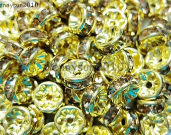 100pcs Top Quality Colorado Topaz Czech Crystal Rhinestones Gold Rondelle Spacer Beads 4mm 5mm 6mm 8mm 10mm