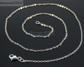 18K Silver Plated Flat Oval Cable Link Chains Lobster Clasp Necklace 18''