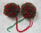 Red and Green Yarn Pom Poms Handmade - Set of 2 Large
