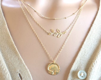 Layering Necklaces Set / Leaf, Tree neclace, Gold Necklaces with Thin Chains Minimal 14K Gold Fill Delicate Necklaces