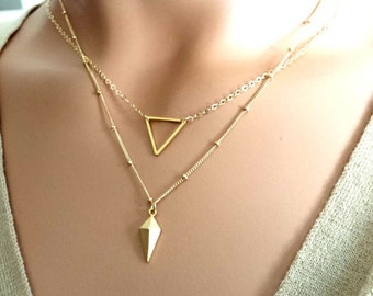 Layering Necklaces Set / Triangle Necklace, Spike Gold Necklaces ,Minimal 14K Gold Fill Delicate Necklaces, Gift