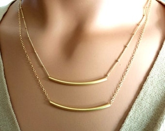 Layering Necklaces Set / Gold Bar Necklace, Minimal 14K Gold Fill Delicate Necklaces, Gift