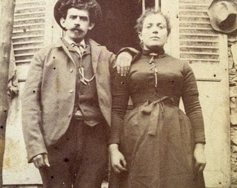 Antique Cabinet Card Photo: American Gothic Couple