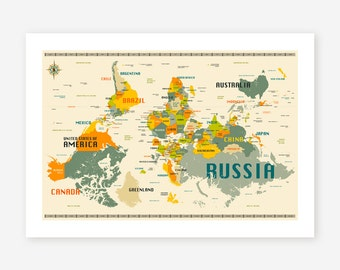"WORLD MAP, ""Upside Down"", Modern Wall Art for the Home Decor by Jazzberry Blue, Giclee Fine Art Print"