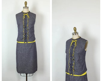 60s Mod Blue Denim and Yellow Shift Dress • 1960s Sleeveless Drop Waist Dress • Sheath Dress • Bow • Medium