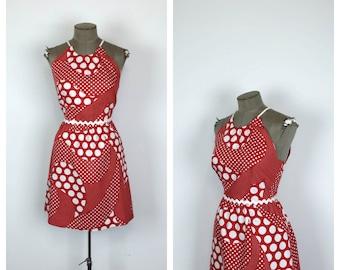 60s Deadstock Dress Red and White Sun Dress • 1960s Drawstring Mini Dress • Summer Dress • Large • XL