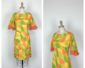 60s Deadstock Yellow Orange and Green Shift Dress • 1960s Geometric Print Sheath Dress • Summer Dress • Small • Medium