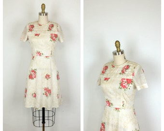 60s Rose Print Day Dress • 1960s Floral Mini Dress • 50s Short Sleeve Petite Dress • Small • Juniors • Jrs