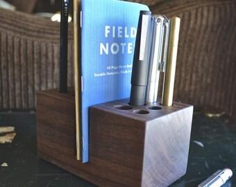 The Divide - Handmade Walnut Wood Pen Holder