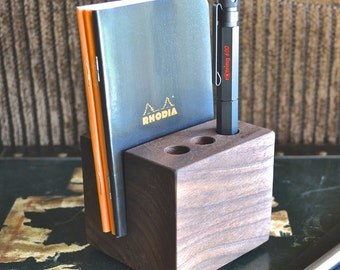 The Daily - Handmade Walnut Wood Pen and Notebook Holder