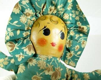 Vintage Rag Doll w/ Oilclloth Face - Sideways Look