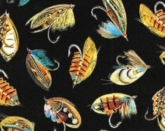 Fat Quarter The Great North Fly Fishing Flies 100% Cotton Quilting Fabric KANVAS
