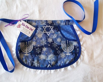 Little Girls Hanukkah Half Apron with Lace Size 3 to 4