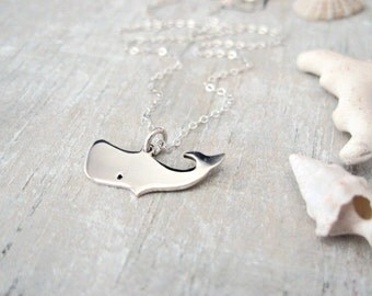 Sterling Silver Whale Necklace - Silver Minimal Necklace - Gold Tiny Necklace - Tiny Silver Pendant Necklace - Everyday Necklace