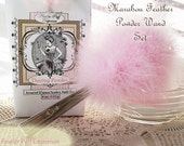 Marabou Feather Powder Puff, Marabou Puff, Feather Puff, Vintage Silver Handle, Powder Set (puff, dish, refill and gift box) PINK
