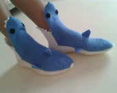 Adult hand knit blue shark socks,Shark Booties, Shark Shoes,Knitting Shark Booties