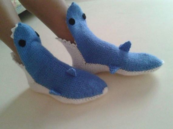 Knitted Shark Socks Pattern : Adult hand knit blue shark socksShark Booties Shark