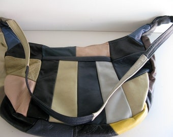 Vintage LEATHER HANDBAG/Patch Work Design/Shoulder Purse/Retro Leather Handbag/Modern Purse/Leather Shoulder Bag/Multi Colored Handbag/Bags