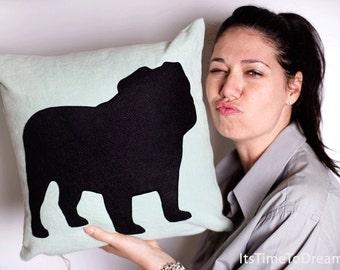 Personalized English Bulldog pillow, pet gift idea, green mint and black, dog pillow, decorative pillow, sofa pillow, cojín del sofá