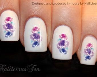Purple Roses Nail Wraps Art Water Transfer Decal 21pcs ST8188