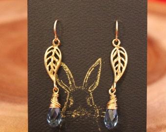 Golden Leaf Water Drop earrings